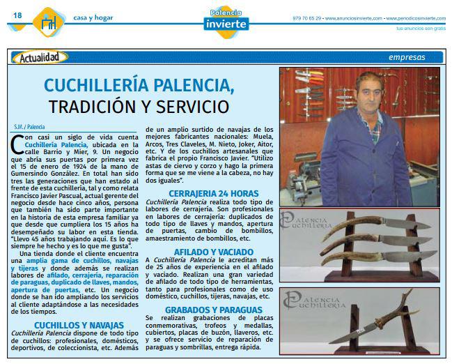 Artículo Palencia Invierte sobre Cuchillería Palencia